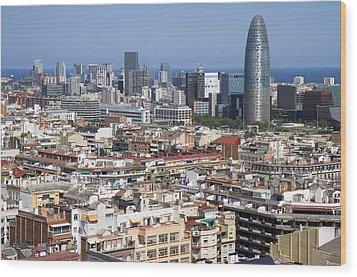 Wood Print featuring the photograph Barcelona Cityscape by Nathan Rupert