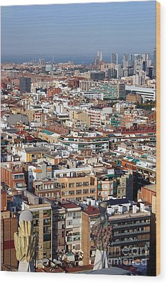 Barcelona Cityscape  Wood Print by Sophie Vigneault