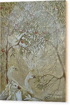 Wood Print featuring the painting Barcelona Geese by Delona Seserman