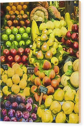 Wood Print featuring the photograph Barcelona Market Fruit by Steven Sparks
