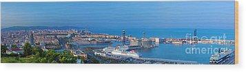 Barcelona Panorama Wood Print by Michal Bednarek