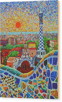 Barcelona Sunrise - Guell Park - Gaudi Tower Wood Print
