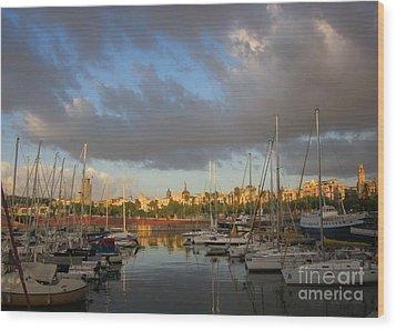 Barcelona Sunrise Wood Print