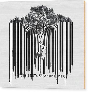 Barcode Graffiti Poster Print Unzip The Code Wood Print