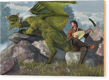 Bard And Dragon Wood Print by Daniel Eskridge