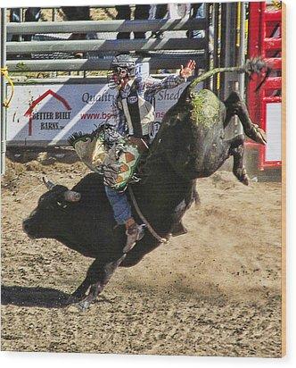 Bareback Bull Riding Wood Print by Ron Roberts