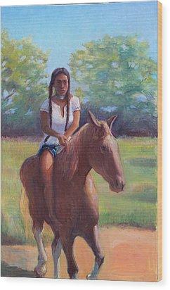 Bareback Riding Wood Print by Gwen Carroll