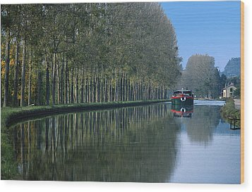 Barge On Burgandy Canal Wood Print by Carl Purcell