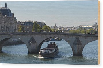Barge On River Seine Wood Print by Cheryl Miller