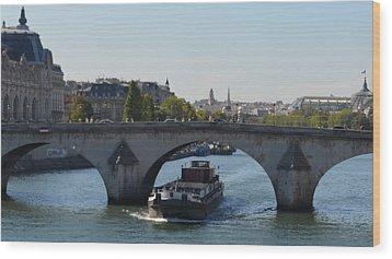 Barge On River Seine Wood Print