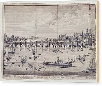 Barges At Westminster Bridge Wood Print by Library Of Congress