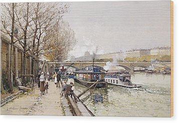 Barges On The Seine Wood Print by Eugene Galien-Laloue