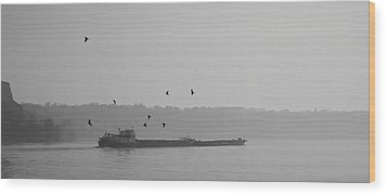 Barges Sail Birds Fly Wood Print