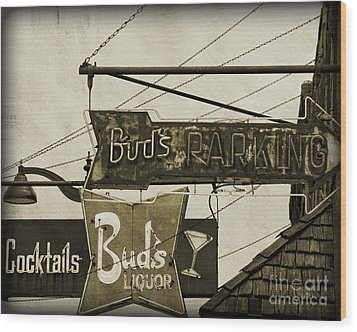 Wood Print featuring the photograph Barhopping At Buds 2 by Lee Craig