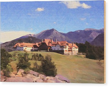 Wood Print featuring the painting Bariloche Argentina 1956 by Spyder Webb