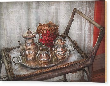 Barista - Tea Set - Morning Tea  Wood Print by Mike Savad