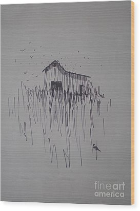 Wood Print featuring the drawing Barn And Birds by Suzanne McKay