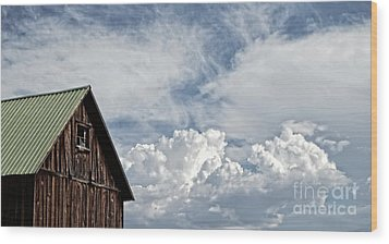 Wood Print featuring the photograph Barn And Clouds by Joseph J Stevens