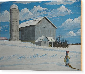 Barn And Pheasant Wood Print by Norm Starks