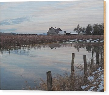 Barn And Reflection Wood Print by Karen Molenaar Terrell
