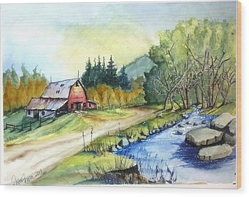 Wood Print featuring the painting Barn And Stream by Richard Benson