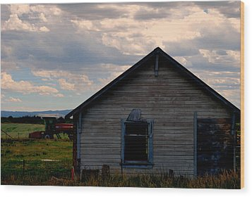 Wood Print featuring the photograph Barn And Tractor by Matt Harang