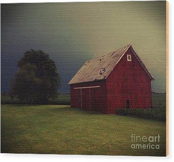 Barn And Tree Wood Print