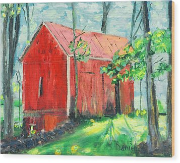 Barn At Walpack Wood Print by Michael Daniels