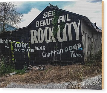 Barn Billboard Wood Print by Janice Spivey
