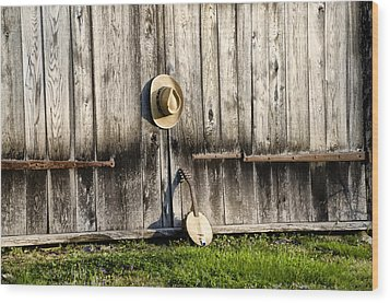 Barn Door And Banjo Mandolin Wood Print by Bill Cannon