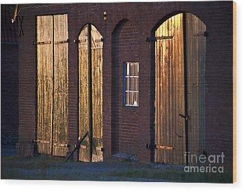 Barn Door Lighting Wood Print by Heiko Koehrer-Wagner