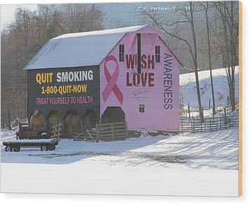Barn For The Cure Wood Print by Carolyn Postelwait