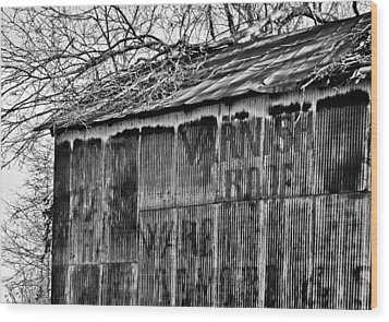 Wood Print featuring the photograph Barn Ghost Sign In Bw by Greg Jackson