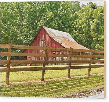 Barn In A Fence Wood Print