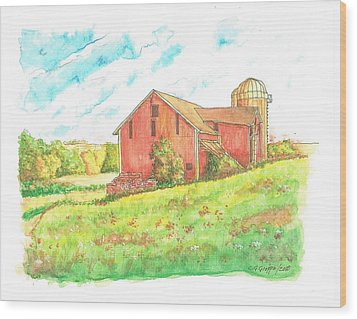 Barn In Cornfield, Wisconsin Wood Print