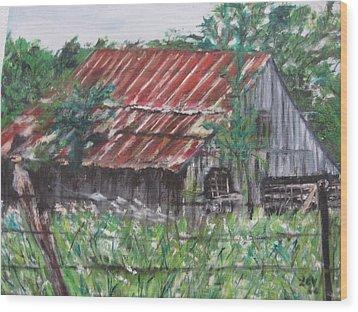 Barn In Montana Wood Print