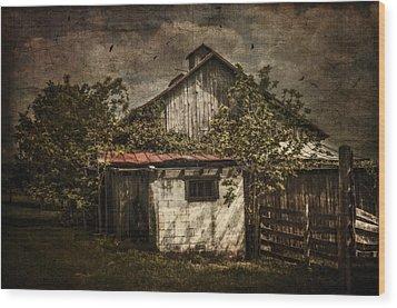 Barn In Morning Light Wood Print by Kathy Jennings