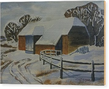 Barn In Snow Wood Print by Can Dogancan