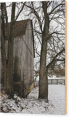 Barn In Winter Wood Print by Donald Fink
