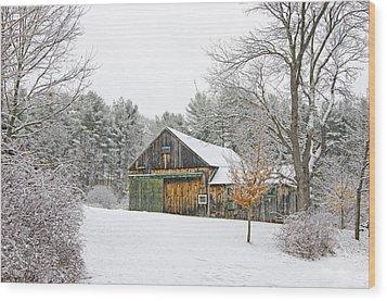 Barn In Winter Wood Print