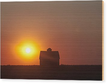 Wood Print featuring the digital art Barn Meets Sunset by Dawn Romine