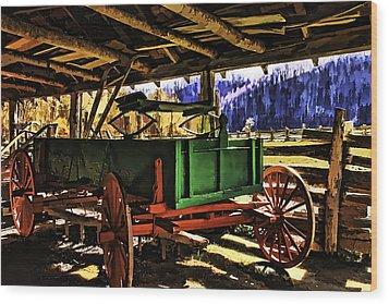 Wood Print featuring the painting Barn by Muhie Kanawati
