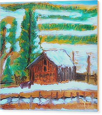 Barn Near Loa Utah 1 Wood Print by Richard W Linford