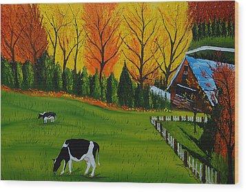 Barn Of Autumn 2 Wood Print by Portland Art Creations