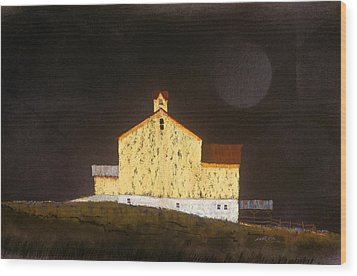 Wood Print featuring the painting Barn On Black #3 by William Renzulli