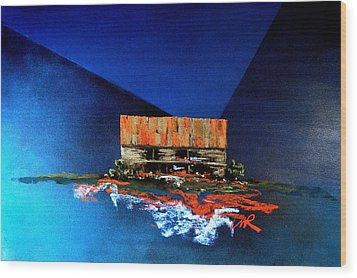 Wood Print featuring the painting Barn On Blue by William Renzulli
