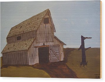 Barn On The Hill Wood Print by Keith Nichols
