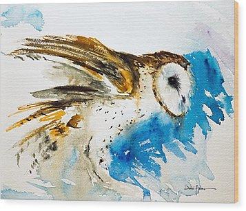 Da145 Barn Owl Ruffled Daniel Adams Wood Print