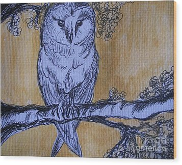 Wood Print featuring the painting Barn Owl by Teresa White