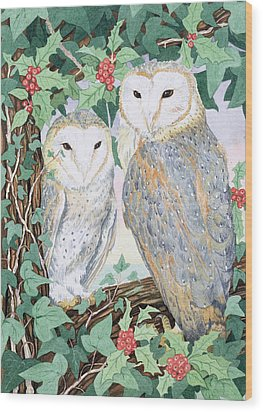 Barn Owls Wood Print by Suzanne Bailey